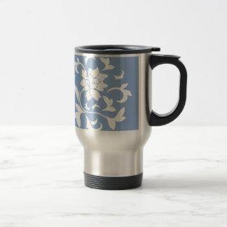 Oriental Flower - Serenity Blue Circular Pattern Travel Mug