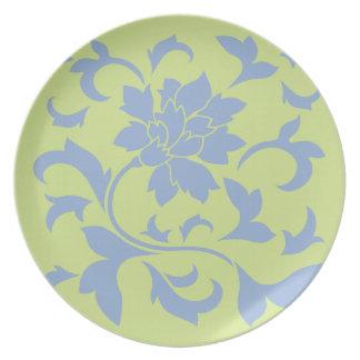 Oriental Flower - Serenity Blue & Daiquiri Green Plate