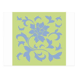 Oriental Flower - Serenity Blue & Daiquiri Green Postcard