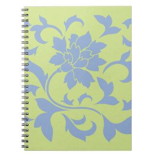 Oriental Flower - Serenity Blue & Daiquiri Green Spiral Notebook