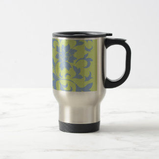 Oriental Flower - Serenity Blue & Daiquiri Green Travel Mug