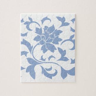 Oriental Flower - Serenity Blue Jigsaw Puzzle
