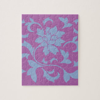 Oriental Flower - Serenity Blue & Radiant Orchid Jigsaw Puzzle