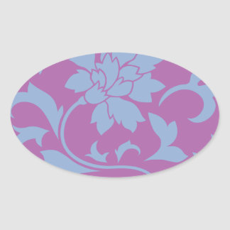 Oriental Flower - Serenity Blue & Radiant Orchid Oval Sticker