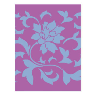Oriental Flower - Serenity Blue & Radiant Orchid Postcard