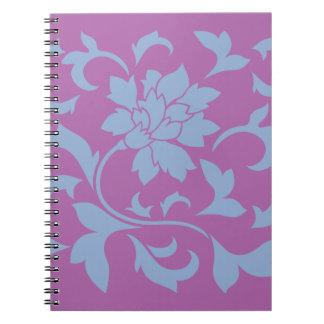 Oriental Flower - Serenity Blue & Radiant Orchid Spiral Notebook