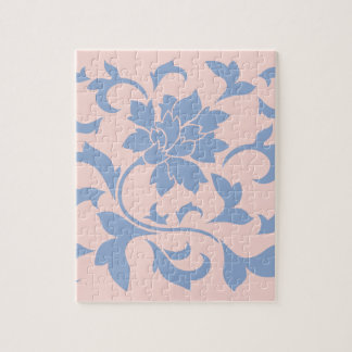 Oriental Flower - Serenity Blue & Rose Quartz Jigsaw Puzzle