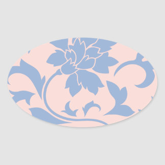 Oriental Flower - Serenity Blue & Rose Quartz Oval Sticker