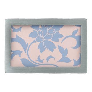 Oriental Flower - Serenity Blue & Rose Quartz Rectangular Belt Buckle