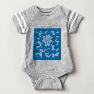 Oriental Flower - Serenity Blue & Snorkel Blue Baby Bodysuit