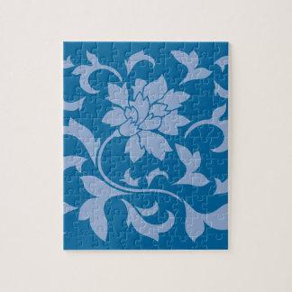 Oriental Flower - Serenity Blue & Snorkel Blue Jigsaw Puzzle