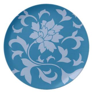 Oriental Flower - Serenity Blue & Snorkel Blue Plate