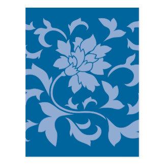 Oriental Flower - Serenity Blue & Snorkel Blue Postcard