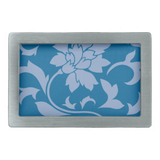 Oriental Flower - Serenity Blue & Snorkel Blue Rectangular Belt Buckles