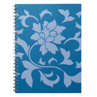 Oriental Flower - Serenity Blue & Snorkel Blue Spiral Notebook