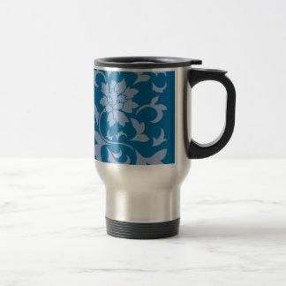 Oriental Flower - Serenity Blue & Snorkel Blue Travel Mug