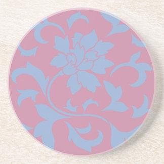 Oriental Flower - Serenity Blue & Strawberry Beverage Coaster