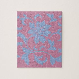 Oriental Flower - Serenity Blue & Strawberry Jigsaw Puzzle