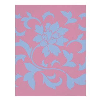 Oriental Flower - Serenity Blue & Strawberry Letterhead