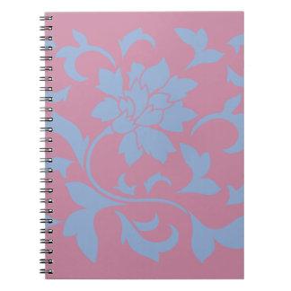 Oriental Flower - Serenity Blue & Strawberry Notebook