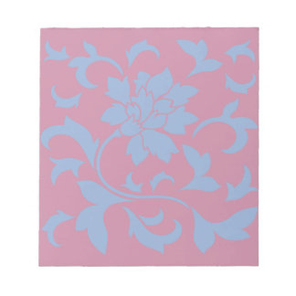 Oriental Flower - Serenity Blue & Strawberry Notepad
