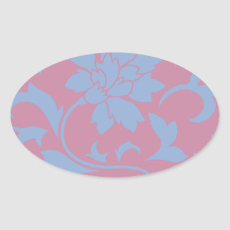 Oriental Flower - Serenity Blue & Strawberry Oval Sticker