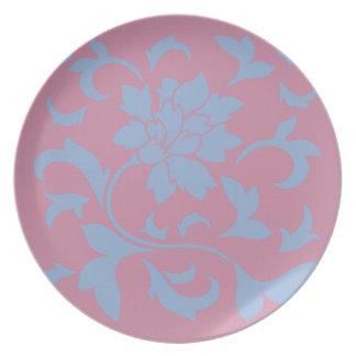 Oriental Flower - Serenity Blue & Strawberry Plate