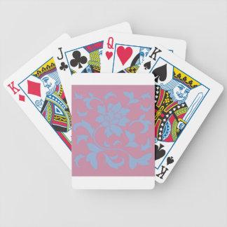 Oriental Flower - Serenity Blue & Strawberry Poker Deck