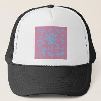 Oriental Flower - Serenity Blue & Strawberry Trucker Hat