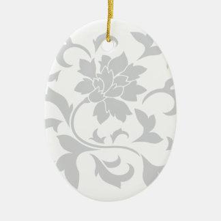 Oriental Flower - Silver Ceramic Ornament