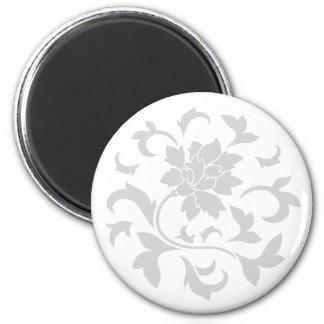 Oriental Flower - Silver Circular Pattern Magnet
