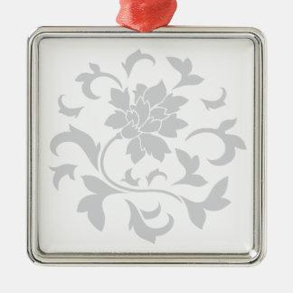 Oriental Flower - Silver Circular Pattern Metal Ornament
