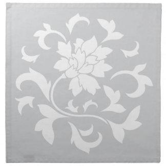 Oriental Flower - Silver Circular Pattern Napkin