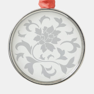 Oriental Flower - Silver Circular Pattern Silver-Colored Round Ornament