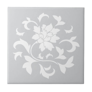 Oriental Flower - Silver Circular Pattern Tile