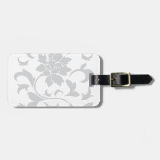 Oriental Flower - Silver Luggage Tag