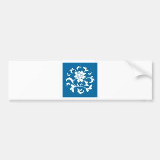 Oriental Flower - Snorkel Blue Circular Pattern Bumper Sticker