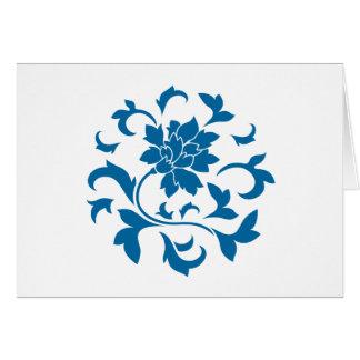 Oriental Flower - Snorkel Blue Circular Pattern Card