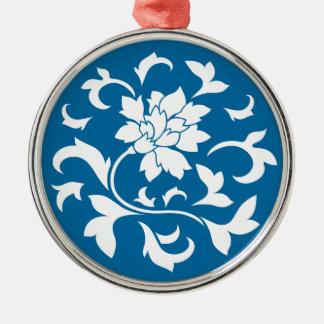 Oriental Flower - Snorkel Blue Circular Pattern Metal Ornament