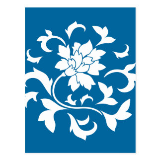 Oriental Flower - Snorkel Blue Circular Pattern Postcard