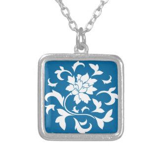Oriental Flower - Snorkel Blue Circular Pattern Silver Plated Necklace