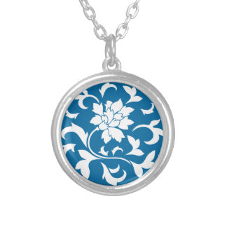 Oriental Flower - Snorkel Blue Circular Pattern Silver Plated Necklace