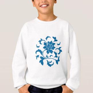 Oriental Flower - Snorkel Blue Circular Pattern Sweatshirt