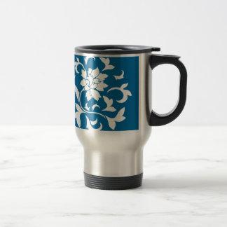 Oriental Flower - Snorkel Blue Circular Pattern Travel Mug