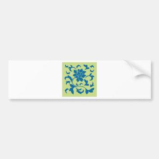Oriental Flower - Snorkel Blue & Daiquiri Green Bumper Sticker