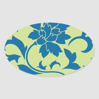 Oriental Flower - Snorkel Blue & Daiquiri Green Oval Sticker