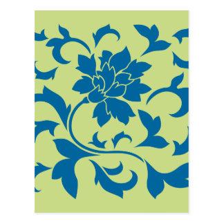 Oriental Flower - Snorkel Blue & Daiquiri Green Postcard
