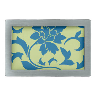Oriental Flower - Snorkel Blue & Daiquiri Green Rectangular Belt Buckle