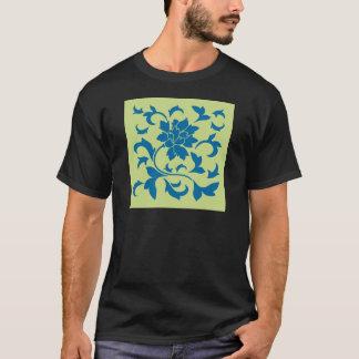 Oriental Flower - Snorkel Blue & Daiquiri Green T-Shirt