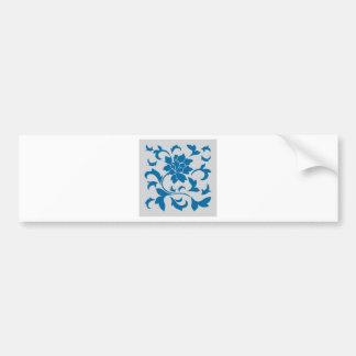 Oriental Flower - Snorkel Blue & Silver Bumper Sticker